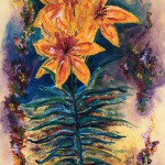 """""""Large Lily"""", acrylic on canvas, 60"""" x 30"""""""